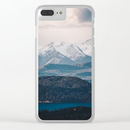 Patagonian Mountain Wall Clear iPhone Case