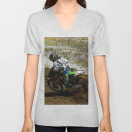 Round the Bend - Dirt-Bike Racing Unisex V-Neck