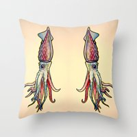 squid Throw Pillows featuring Squid by Irene Fratto Due
