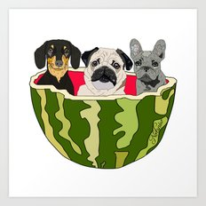 Watermelon Dogs Art Print