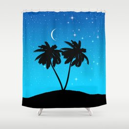 Palm Tree Silhouette Against Evening Blue with Stars Shower Curtain