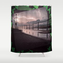 Lightening Strikes - Green Graphic Shower Curtain