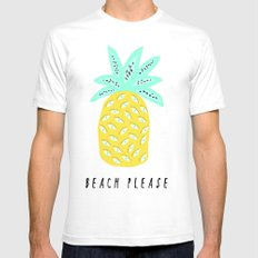 BEACH PLEASE LARGE White Mens Fitted Tee
