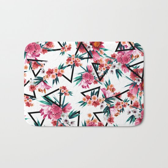 Flowers And Geometric Pattern Bath Mat