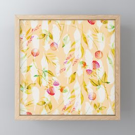 Spring Flowers and Feathers Pattern Framed Mini Art Print