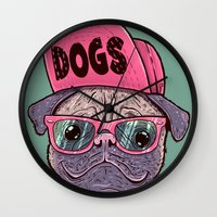 dogs Wall Clocks featuring Dogs by Lime