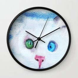 cat in chalk Wall Clock