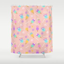 Colorful ice cream, in a seamless pattern design Shower Curtain