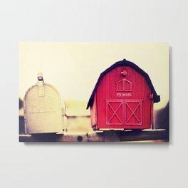 Red barn mail box Metal Print