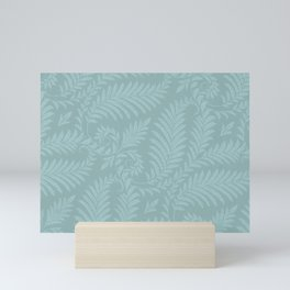 Fancy Light Blue Leaves Scroll Damask on Dark Turquoise Mini Art Print
