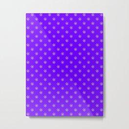 White on Indigo Violet Snowflakes Metal Print