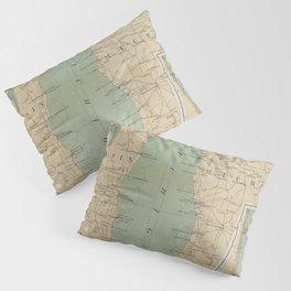 Vintage Lake Michigan Lighthouse Map (1898) Pillow Sham