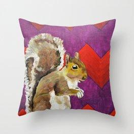 Orange and Purple Chevron Squirrel by Mike Kraus - art animals wildlife silly fun children kids fun Throw Pillow
