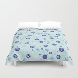 Ice Blue Snowflakes Duvet Cover