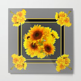 YELLOW SUNFLOWER BOUQUETS GREY ART Metal Print