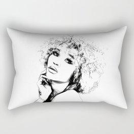 Black Woman Portrait Minimal Drawing Rectangular Pillow