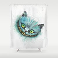 cheshire cat Shower Curtains featuring Cheshire Cat by digiartpicture