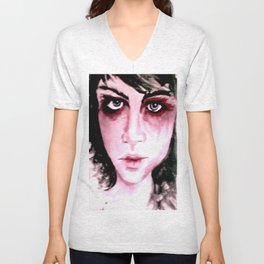 Blue Grey Eyes Unisex V-Neck