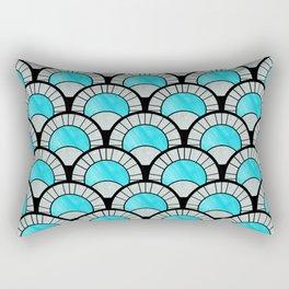Aqua Art Deco Twenties Fan Pattern Rectangular Pillow