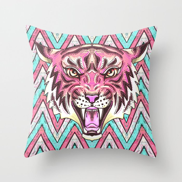 Pink Tiger Chevron Throw Pillow