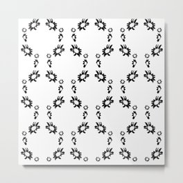 Daisies Pattern In Black And White Metal Print