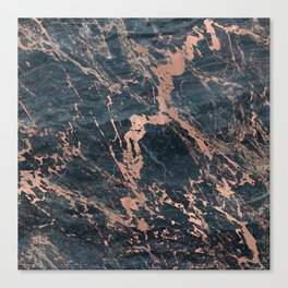 Blue & Rose Gold Marble Canvas Print