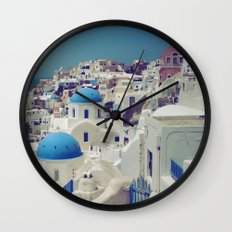 Blue Domes, Oia, Santorini, Greece Wall Clock