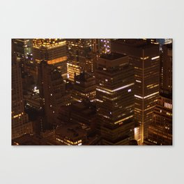 new york cityscape skyscrapers skyline at night texture pattern Canvas Print