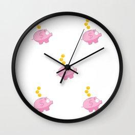 Piggy bank pattern Wall Clock