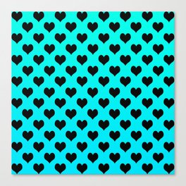 Black and blue Hearts Canvas Print