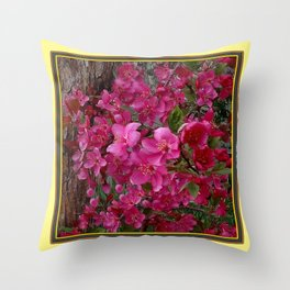FUCHSIA PURPLE CRAB APPLE FLOWERS  FLORAL ART Throw Pillow