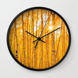 Aspens Of Autumn Colorado Landscape Sun Through Trees Wall Clock