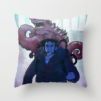 xmen Throw Pillows featuring Xmen vs The Thing by ashurcollective