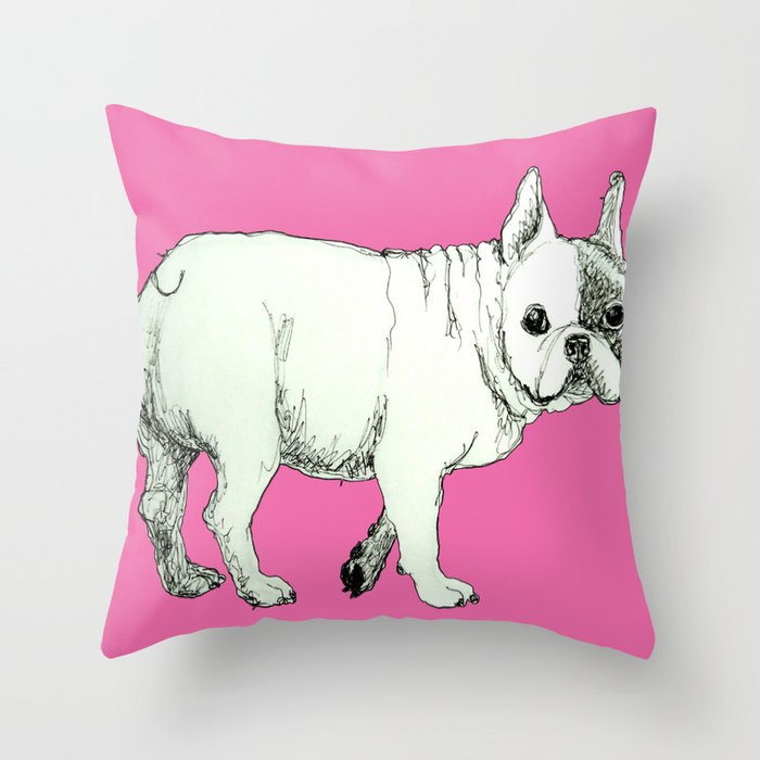 Frenchie on Pink Throw Pillow