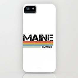 Retro Vintage Stripes Maine Gift & Souvenir Graphic iPhone Case
