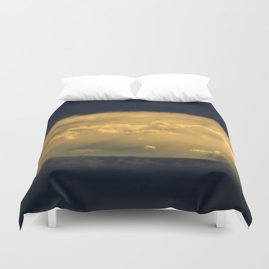 Storm through the mountains at sunset Duvet Cover