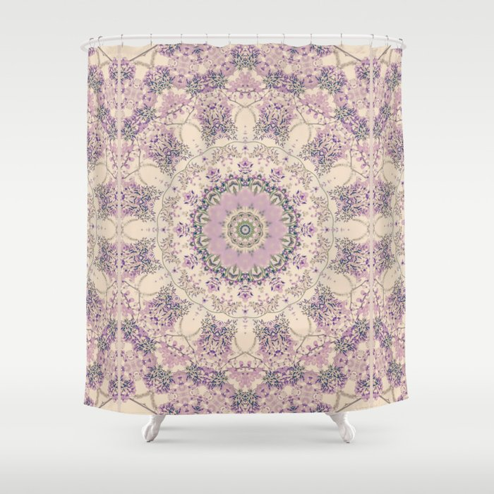 47 Wisteria Circle   Vintage Cream And Lavender Purple Mandala Shower  Curtain