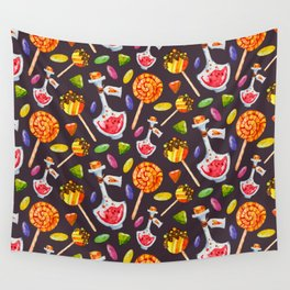 Watercolor Halloween Candy Pattern Wall Tapestry