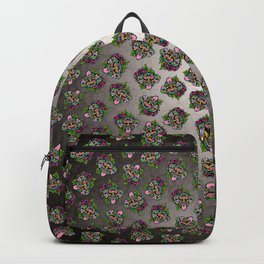 Doberman with Floppy Ears - Day of the Dead Sugar Skull Dog Backpack