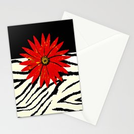 Animal Print Zebra Black and White and Red flower Medallion Stationery Cards