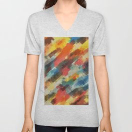 psychedelic camouflage geometric pixel square pattern abstract in orange yellow blue Unisex V-Neck