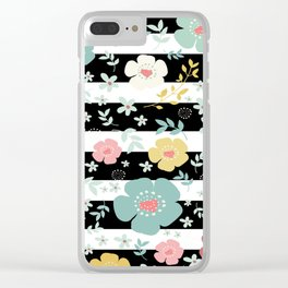 Black & White Stripes & Colorful Flowers Pattern Clear iPhone Case