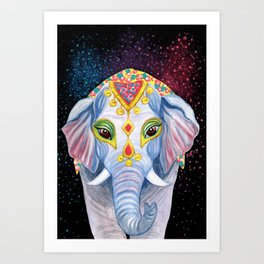 Indian Holi Elephant Watercolor and Acrylic Painting Art Print