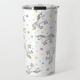 Unicorns and Stars - White and Rainbow scatter pattern Travel Mug