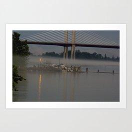 The fishing Dock on a misty evening Art Print