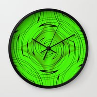 lime green Wall Clocks featuring Lime Green by Sartoris ART