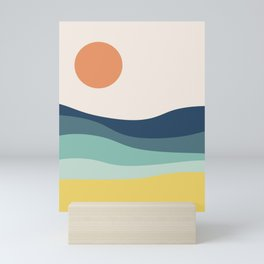 Abstract landscape with sea and sun Mini Art Print