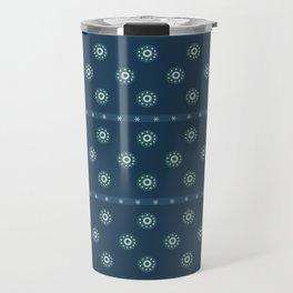 Blue Circles on Blue Travel Mug