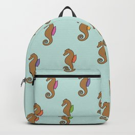 Floating Seahorses // Green Backpack