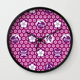 Samurai, Cherry Blossom Japanese Style Art Wall Clock